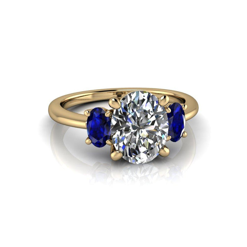2.80 CTW Three Stone Sapphire and Oval Charles & Colvard Colorless Moissanite Ring-Bel Viaggio Designs