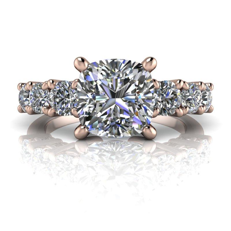 2.82 CTW Seven Stone Anniversary Ring, Cushion Cut DEF Color Moissanite Ring-Bel Viaggio Designs