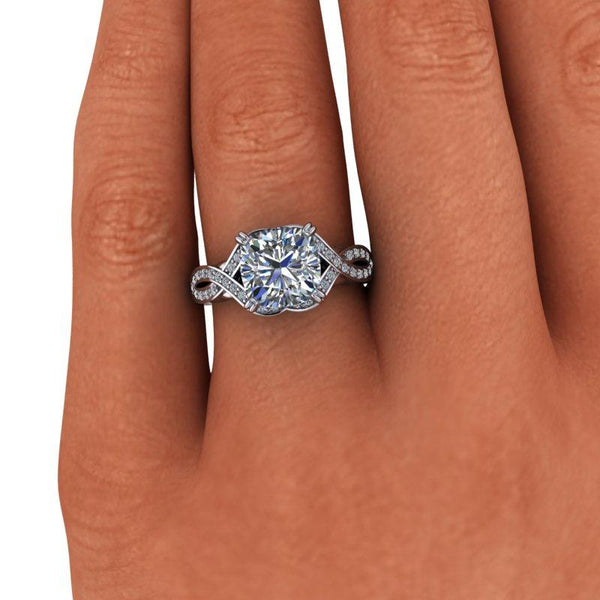 2.85 CTW Cushion Cut Forever One Moissanite Contemporary Engagement Ring-Bel Viaggio Designs
