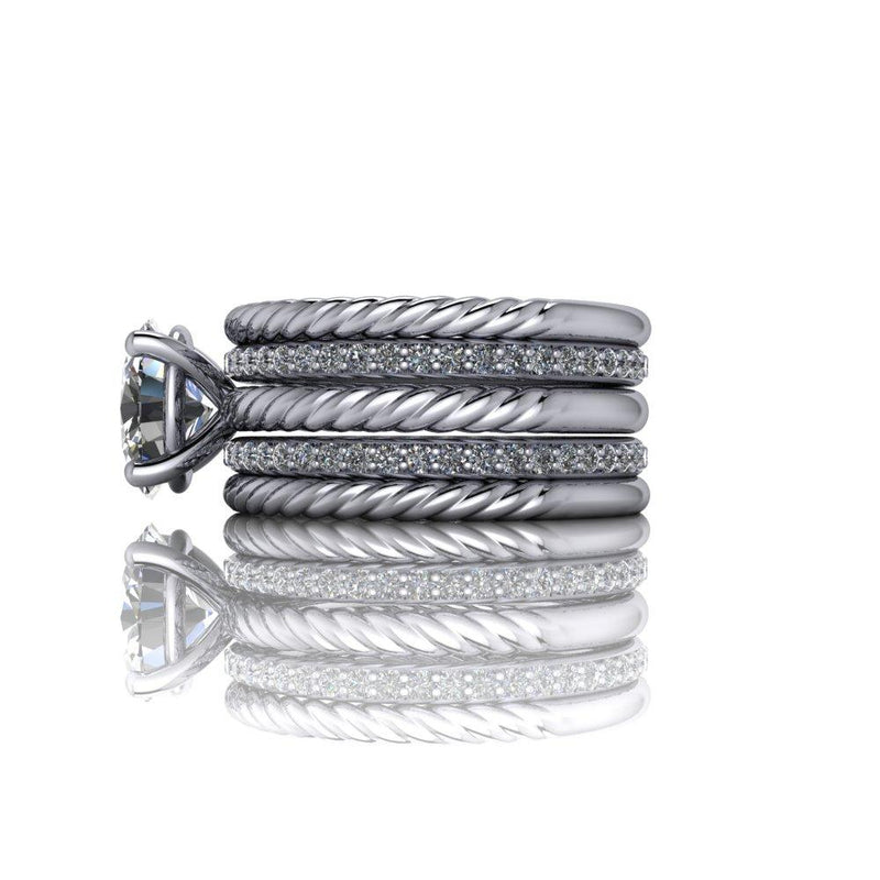 2.85 CTW Oval Rope Shank Engagement Ring and Stacking Wedding Bands Insieme Bridal Stackables®-Bel Viaggio Designs
