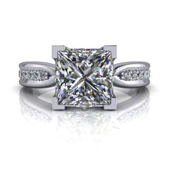2.86 CTW Princess Cut Forever One Moissanite Engagement Ring-Bel Viaggio Designs, LLC