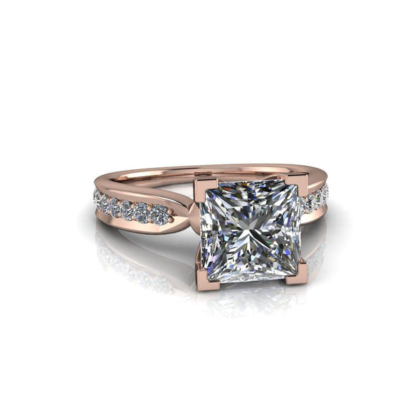2.86 CTW Princess Cut Moissanite High Set Engagement Ring-Bel Viaggio Designs