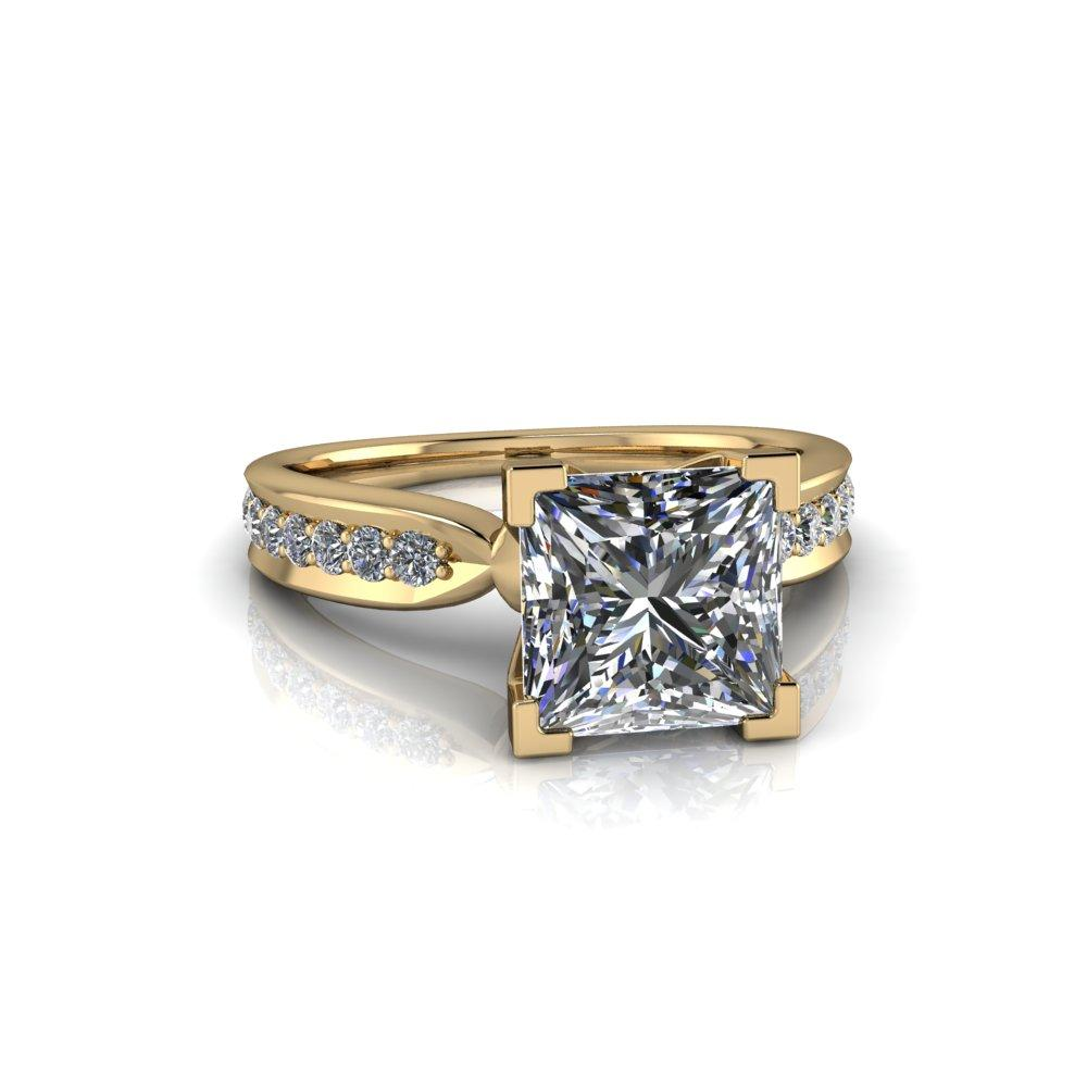 2.86 CTW Princess Cut Moissanite High Set Engagement Ring-Celestial Premier-Bel Viaggio Designs-Bel Viaggio®