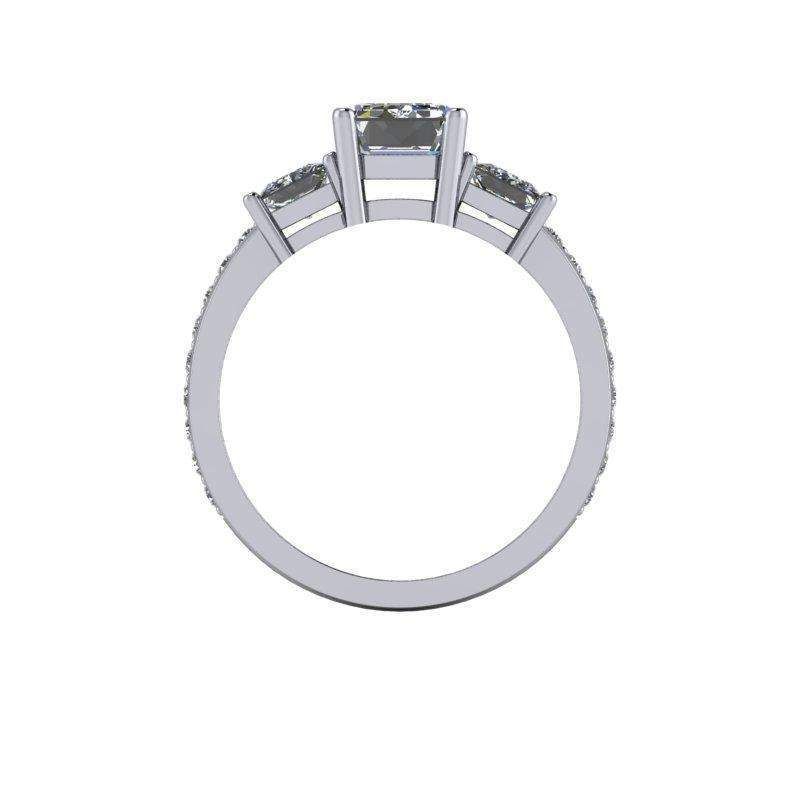 2.87 CTW Three Stone Emerald Cut and Princess Cut Forever One Colorless Moissanite Ring-BVD