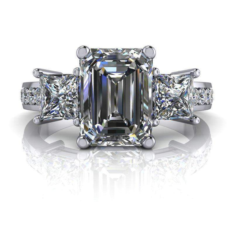 2.87 CTW Three Stone Emerald Cut and Princess Cut Forever One Colorless Moissanite Ring-Forever One-Bel Viaggio Designs-Bel Viaggio®