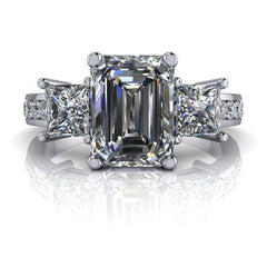 2.87 CTW Three Stone Emerald Cut and Princess Cut Forever One Colorless Moissanite Ring-Bel Viaggio Designs, LLC