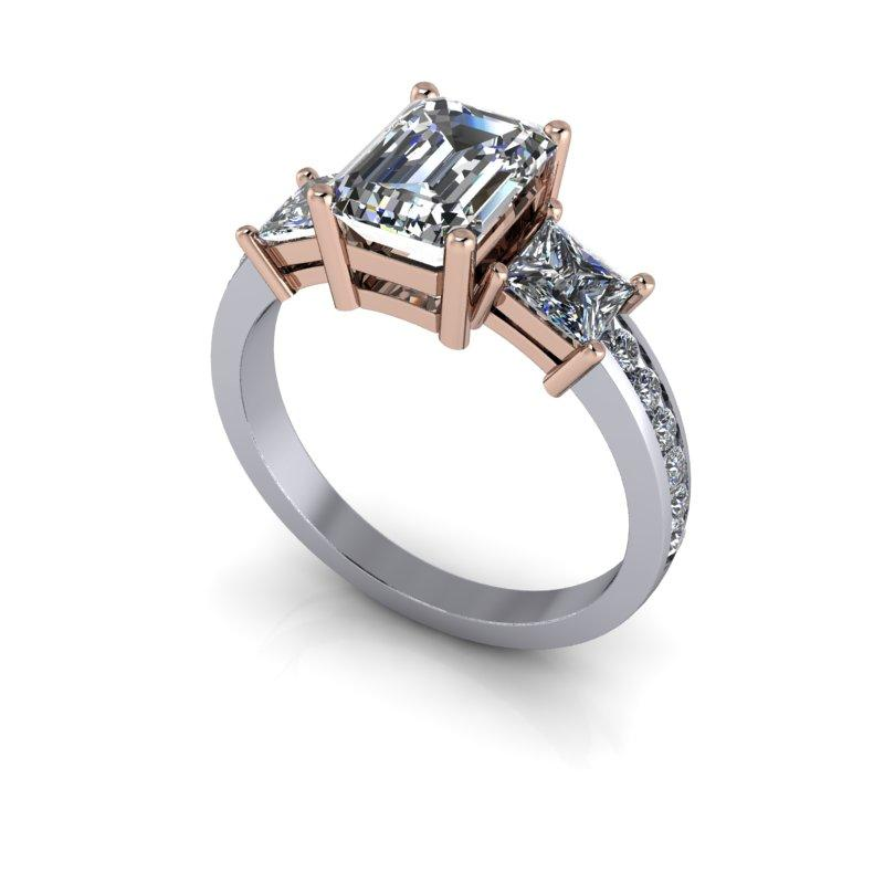 2.87 CTW Three Stone Emerald Cut and Princess Cut Forever One Colorless Moissanite Ring-Bel Viaggio Designs