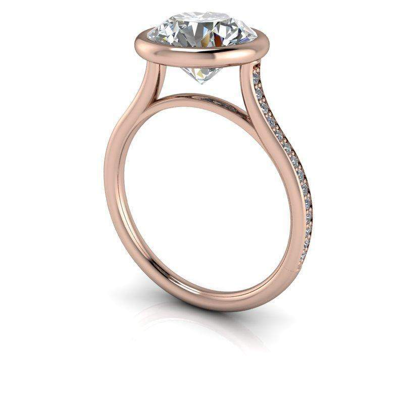 2.88 CTW Charles & Colvard Moissanite Suspended Bezel Set Engagement Ring-Bel Viaggio Designs