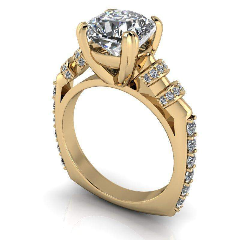 2.88 CTW Stacy K ~ Opulence Limited Edition Diamond and Cushion Cut Moissanite Engagement-BVD