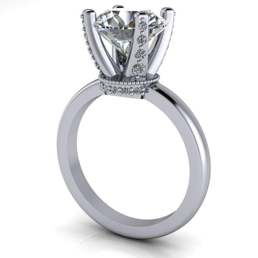 2.90 CTW Diamond Prong Solitaire Forever One Moissanite Engagement Ring-BVD