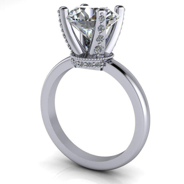 2.90 CTW Diamond Prong Solitaire Forever One Moissanite Engagement Ring-Bel Viaggio Designs