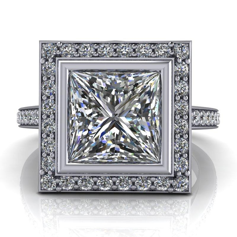 2.90 CTW Princess Cut Forever One Moissanite Halo Bridal Set, Dual Wedding Bands-Bel Viaggio Designs, LLC