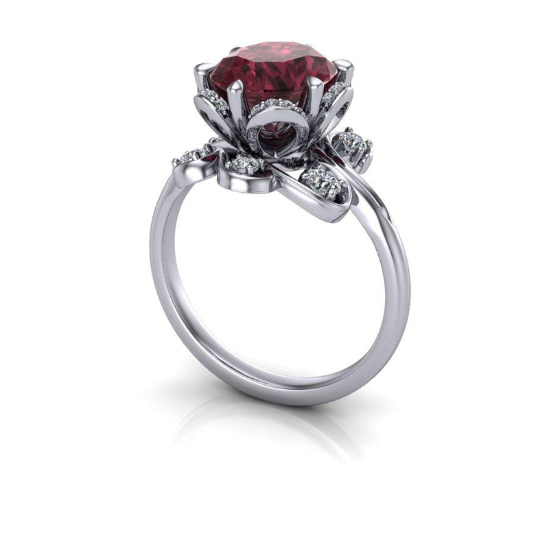 2.90 CTW Raspberry Garnet & Diamond Anniversary Ring-Bel Viaggio Designs