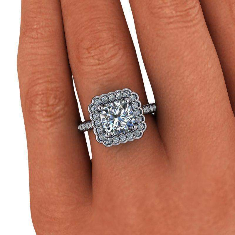 2.90 CTW Stacy K Opulence Cushion Charles & Colvard Moissanite Halo Engagement Ring-Bel Viaggio Designs