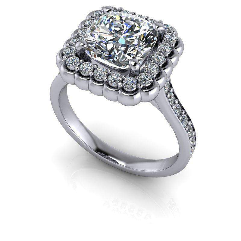 2.90 CTW Stacy K Opulence Cushion Cut Moissanite Halo Engagement Ring-Bel Viaggio Designs