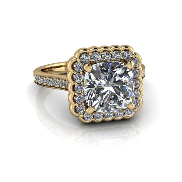 2.90 CTW Stacy K Opulence Limited Edition Cushion Cut Moissanite Halo Engagement Ring-Bel Viaggio Designs