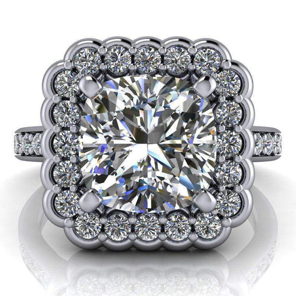 2.90 CTW Stacy K Opulence Limited Edition Cushion Cut Moissanite Halo Engagement Ring-BVD