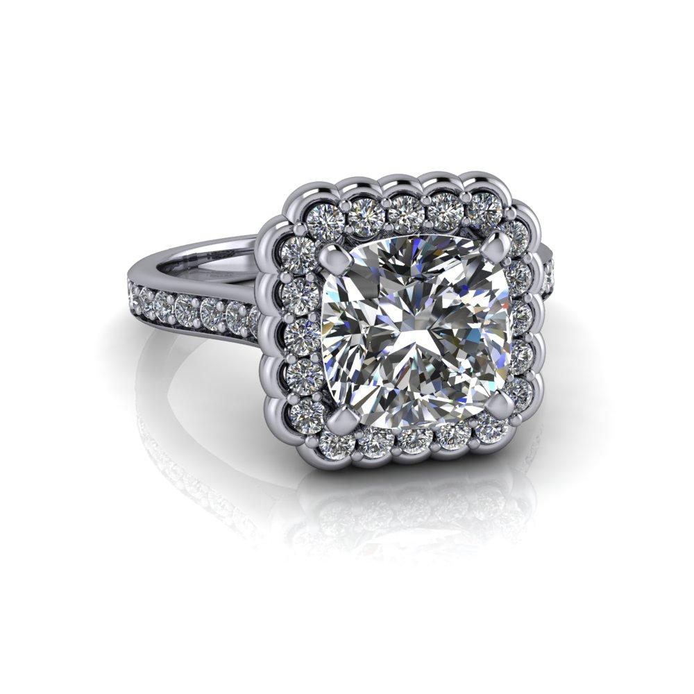 2.90 CTW Stacy K ~ Opulence Limited Edition Cushion Cut Moissanite Halo Engagement Ring-Bel Viaggio Designs, LLC