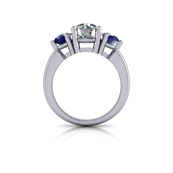 2.90 CTW Three Stone Ring Forever One Moissanite and Sapphire Ring-Bel Viaggio Designs