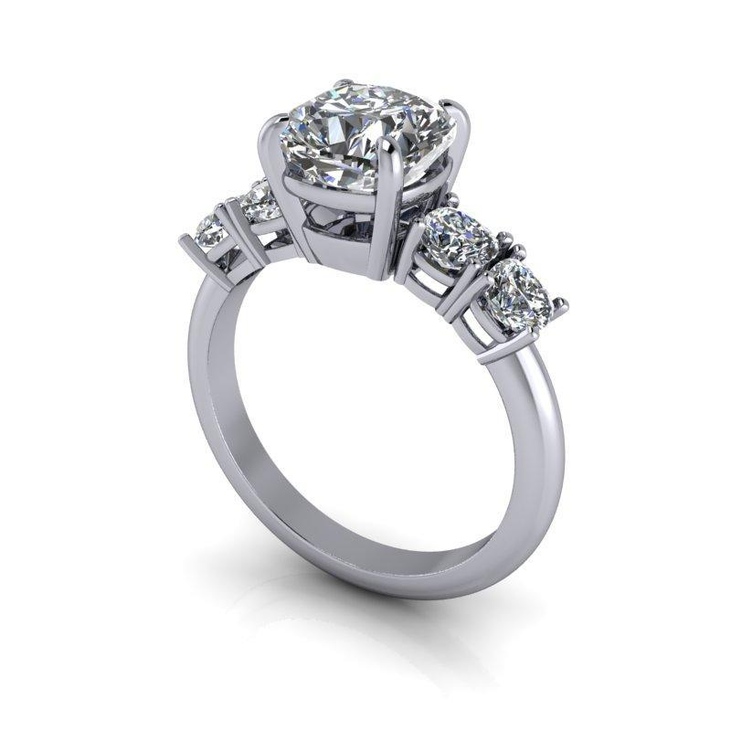2.92 CTW 5-Stone Cushion Cut Engagement Ring, Colorless Moissanite Ring-Bel Viaggio Designs
