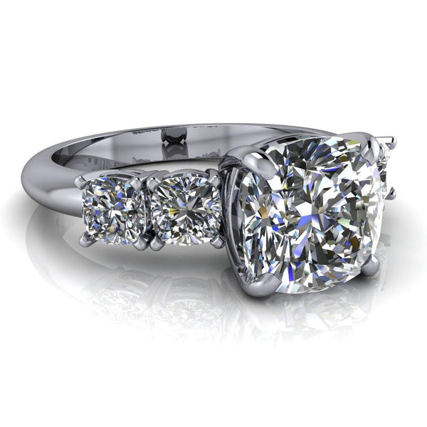 2.92 CTW 5-Stone Cushion Cut Engagement Ring, Colorless Moissanite Ring-BVD