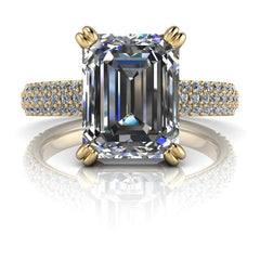 2.92 CTW Emerald Cut Forever One Moissanite Pave Engagement Ring-Bel Viaggio Designs, LLC