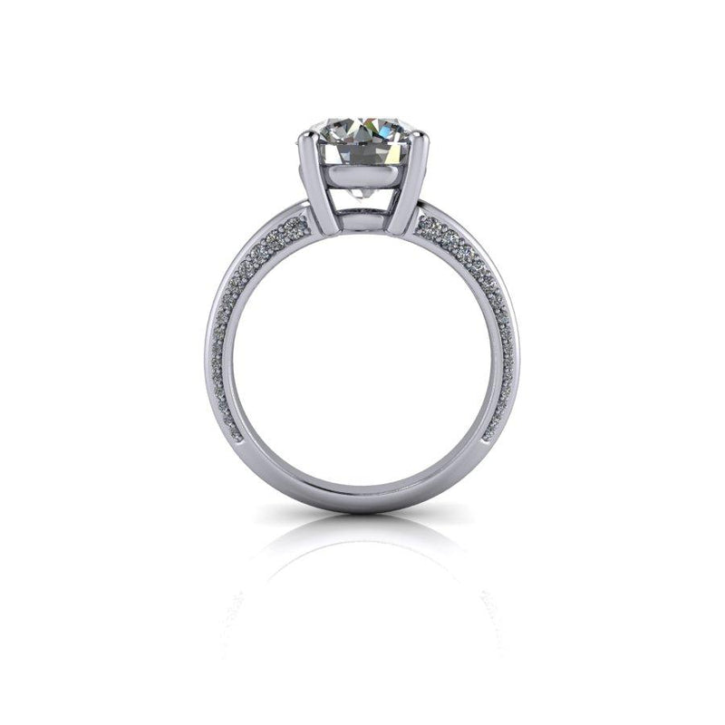 2.95 CTW Round Moissanite Engagement Ring, DEF Color-Bel Viaggio Designs