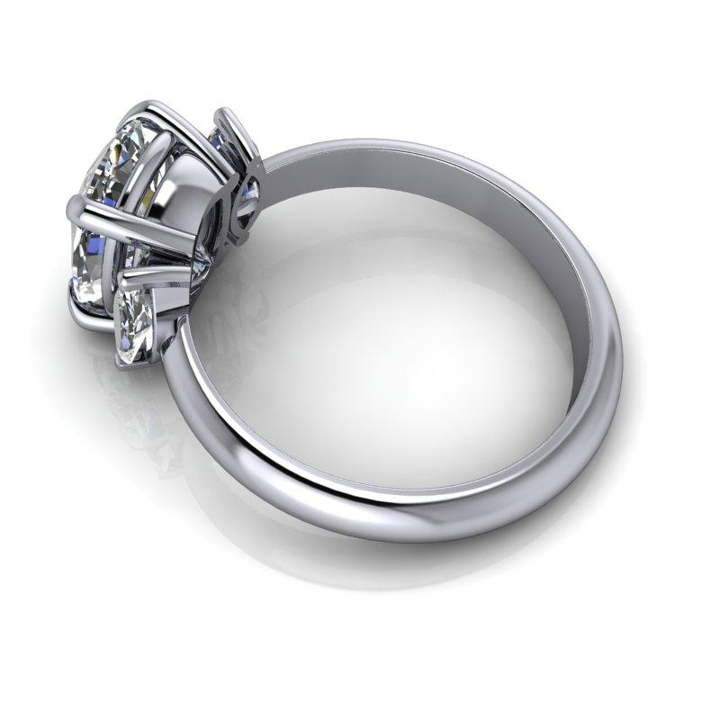 2.96 CTW Elongated Cushion Cut and Marquise Moissanite Anniversary Ring-BVD