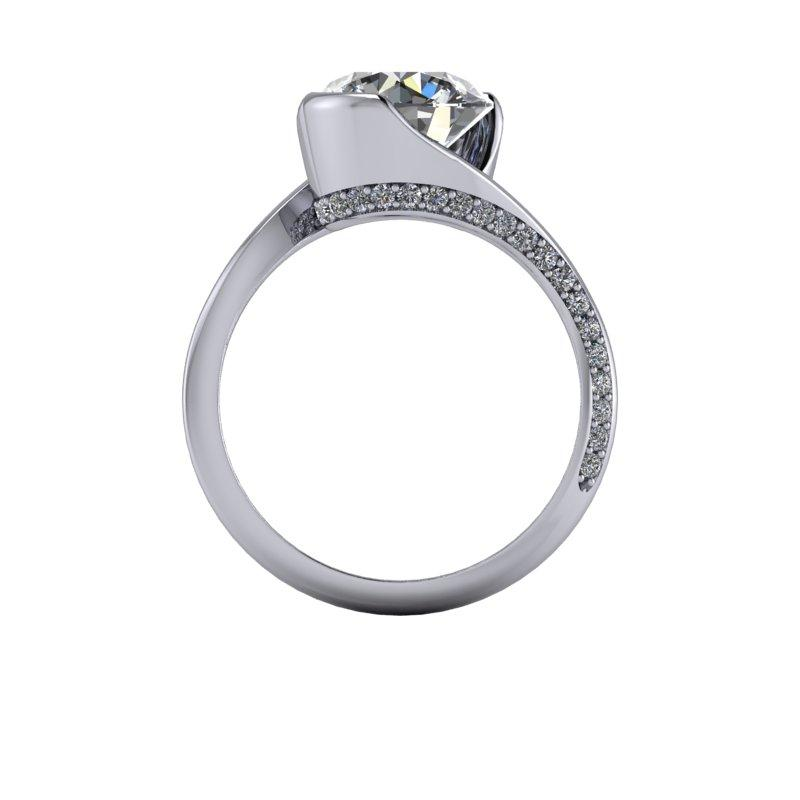 2.96 CTW Round Forever One Moissanite Asymmetrical Engagement Ring-Bel Viaggio Designs