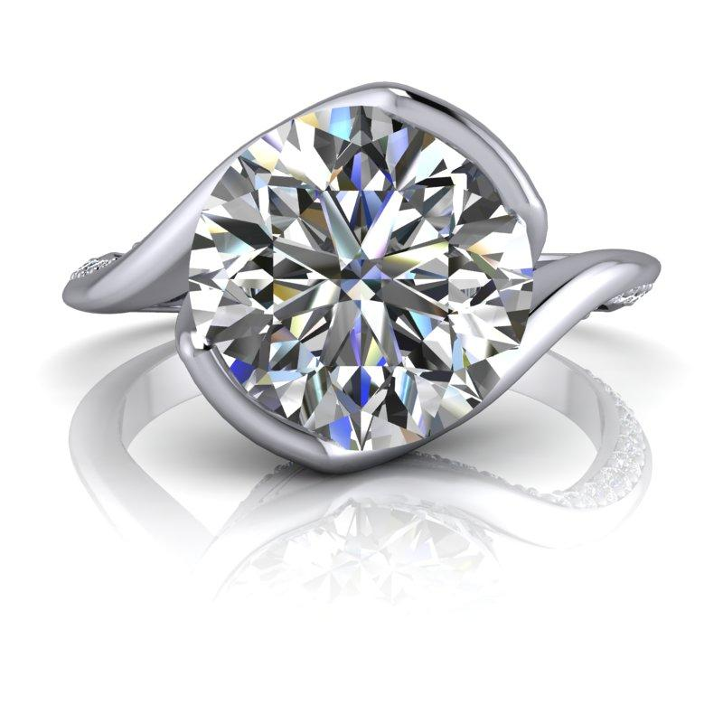 2.96 CTW Round Forever One Moissanite Asymmetrical Engagement Ring-Bel Viaggio Designs, LLC