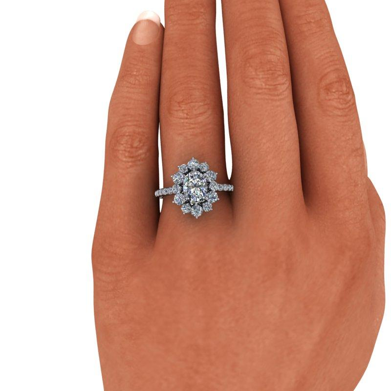 2.98 CTW Oval Forever One Moissanite Halo Engagement Ring, Cluster Ring-Bel Viaggio Designs