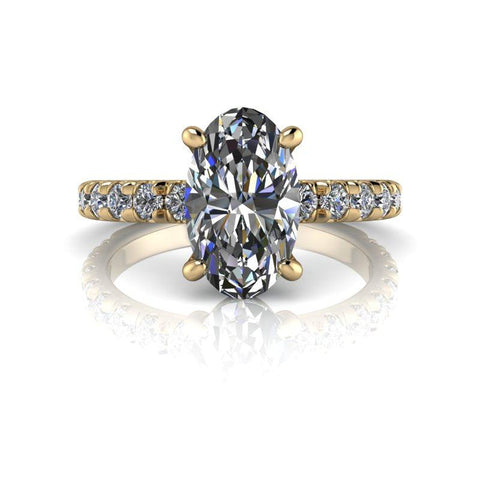 2.95 ctw Elongated Oval Forever One Moissanite Diamond Engagement Ring-Bel Viaggio Designs