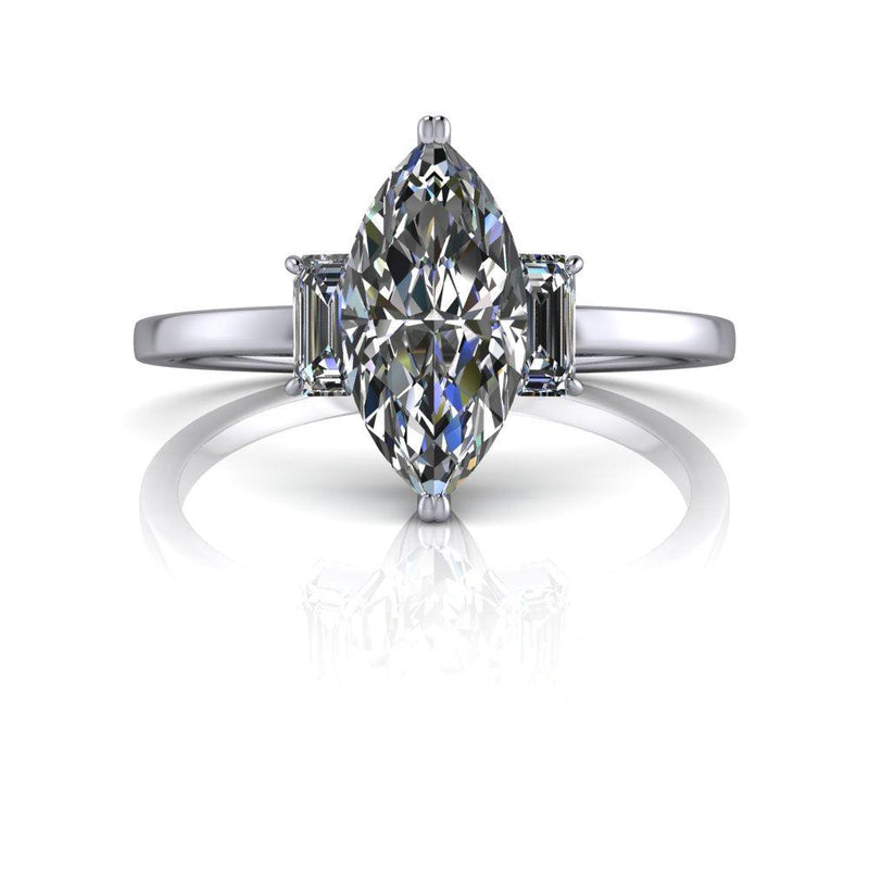 1.20 ctw Marquise Cut Colorless Moissanite Three Stone Engagement Ring-Bel Viaggio Designs