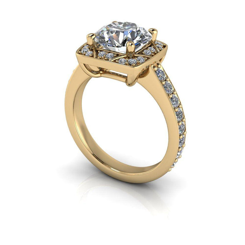 2.55 CTW Antique Style Moissanite and Lab Grown Diamond Halo Engagement Ring-Bel Viaggio Designs