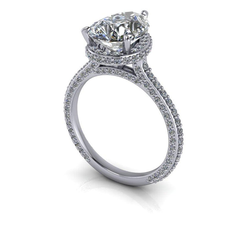 Pear Forever One Moissanite Engagement Ring Hidden Halo 4.67 ctw-Bel Viaggio Designs