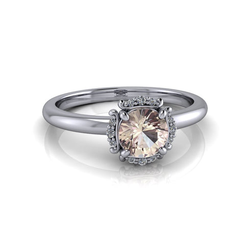 Morganite Engagement Ring Diamond Halo Engagement Ring 1.35 CTW-Bel Viaggio Designs