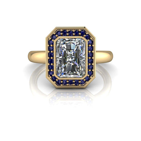 Blue Sapphire & Radiant Cut Moissanite Engagement Ring 1.95 ctw-Bel Viaggio Designs