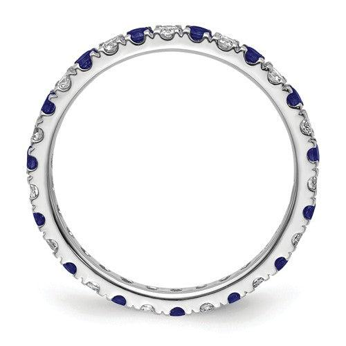 1.06 CTW Lab Grown Diamond Eternity Ring with Blue Sapphires-Bel Viaggio Designs
