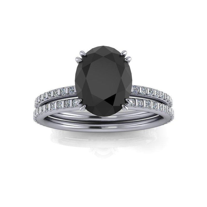 Oval Black Diamond Engagement Ring/Bridal Set 2.40 CTW-Bel Viaggio Designs