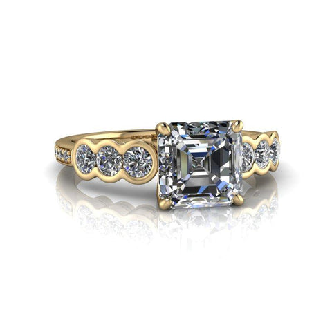Asscher Forever One Moissanite Diamond Halo Engagement Ring-Bel Viaggio Designs