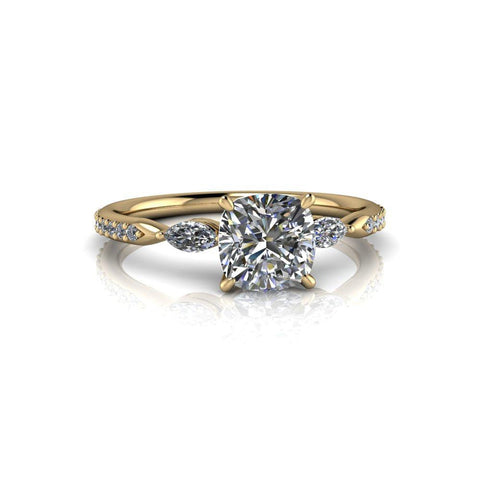1.42 ctw Cushion Cut Moissanite and Diamond Three Stone Engagement Ring-Bel Viaggio Designs