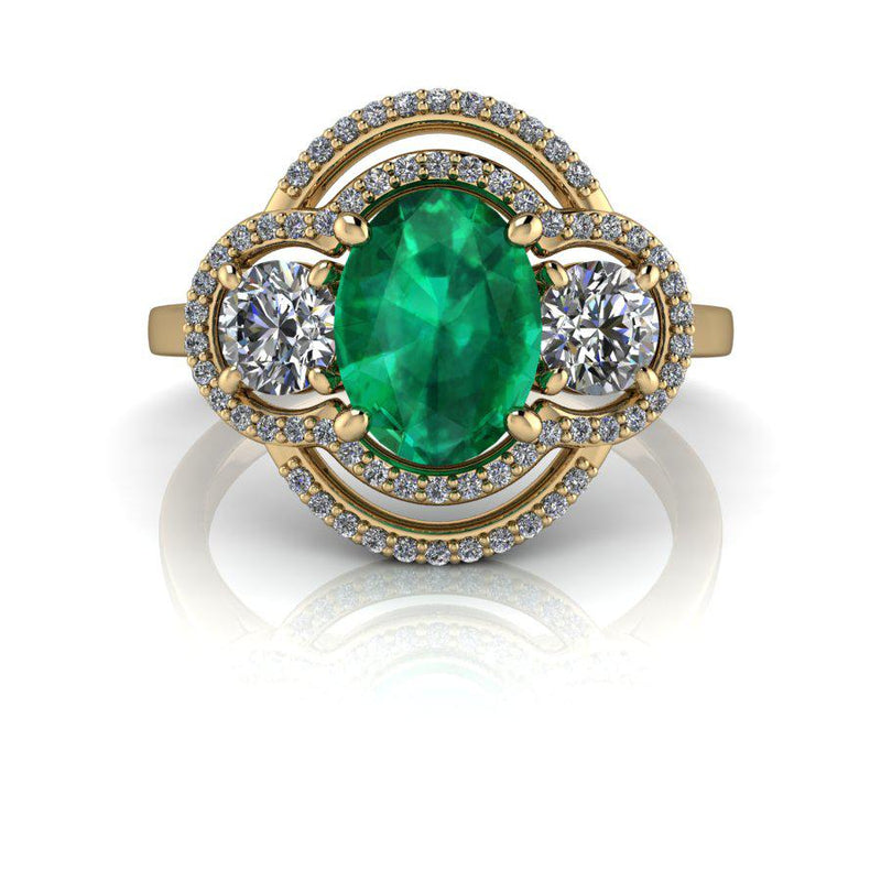 Green Emerald & Diamond Engagement Ring, 1.87 ctw-Bel Viaggio Designs