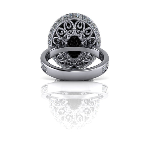 10.51 CTW Oval Black Moissanite and Lab Grown Diamond Halo Engagement Ring-Bel Viaggio Designs