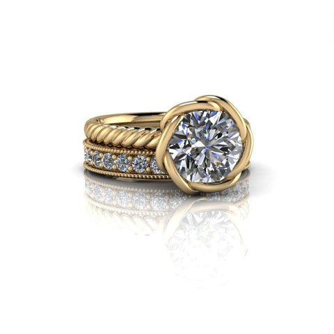 2.44 CTW Forever One Moissanite Engagement Ring, Stacking Wedding Bands-Bel Viaggio Designs