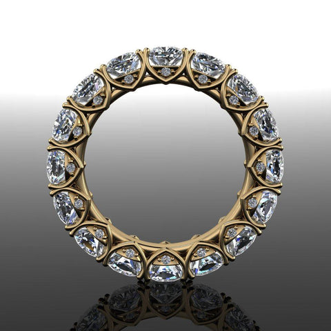 5.42 ctw Cushion Cut Moissanite Eternity Band-Bel Viaggio Designs