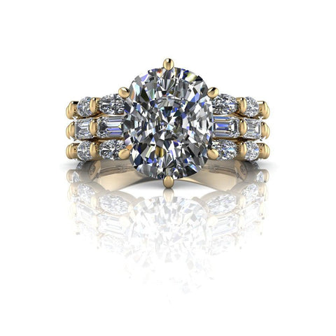 6.70 CTW Elongated Cushion Engagement Ring or Anniversary Ring-Bel Viaggio Designs