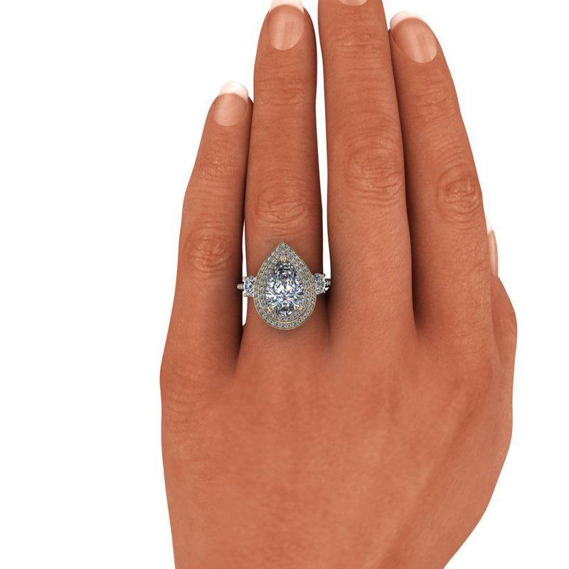 Pear Forever One Moissanite & Diamond Engagement Ring 4.73 ctw-Bel Viaggio Designs