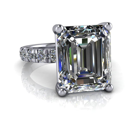 7.59 ctw Emerald Cut Colorless Moissanite & French Set Diamond Engagement Ring-Bel Viaggio Designs