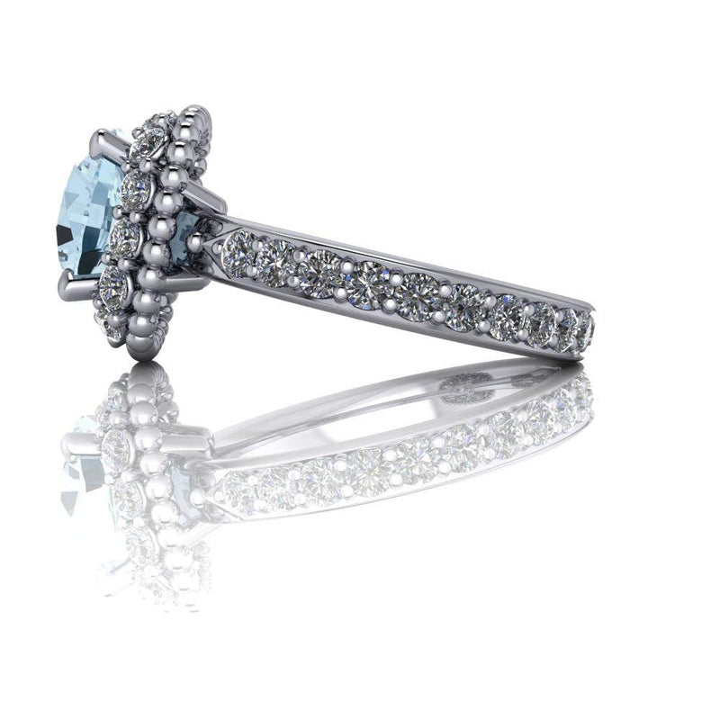 3.30 CTW Aquamarine & Diamond Halo Engagement Ring-Bel Viaggio Designs