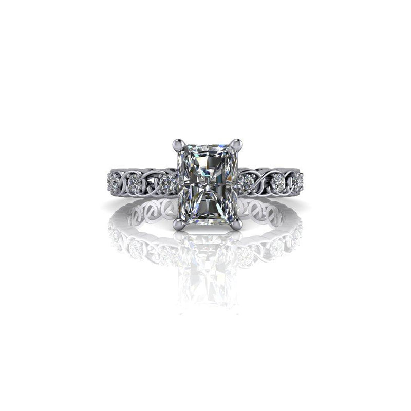 2.31 CTW Radiant Cut Forever One Moissanite an Lab Grown Diamond Engagement Ring-Bel Viaggio Designs